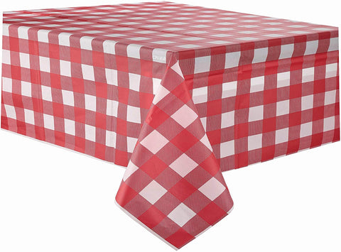 Red Gingham Checkered Plastic Tablecloth 3 Pack Disposable Table Covers Buffalo Plaid Table Cloth for Rectangle Tables