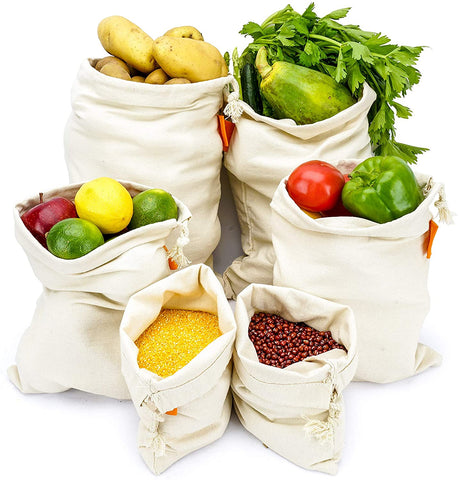 Bodaon Cotton Reusable Grocery Produce Bags Set of 6 Pack Washable Eco Friendly Bags With Drawstring