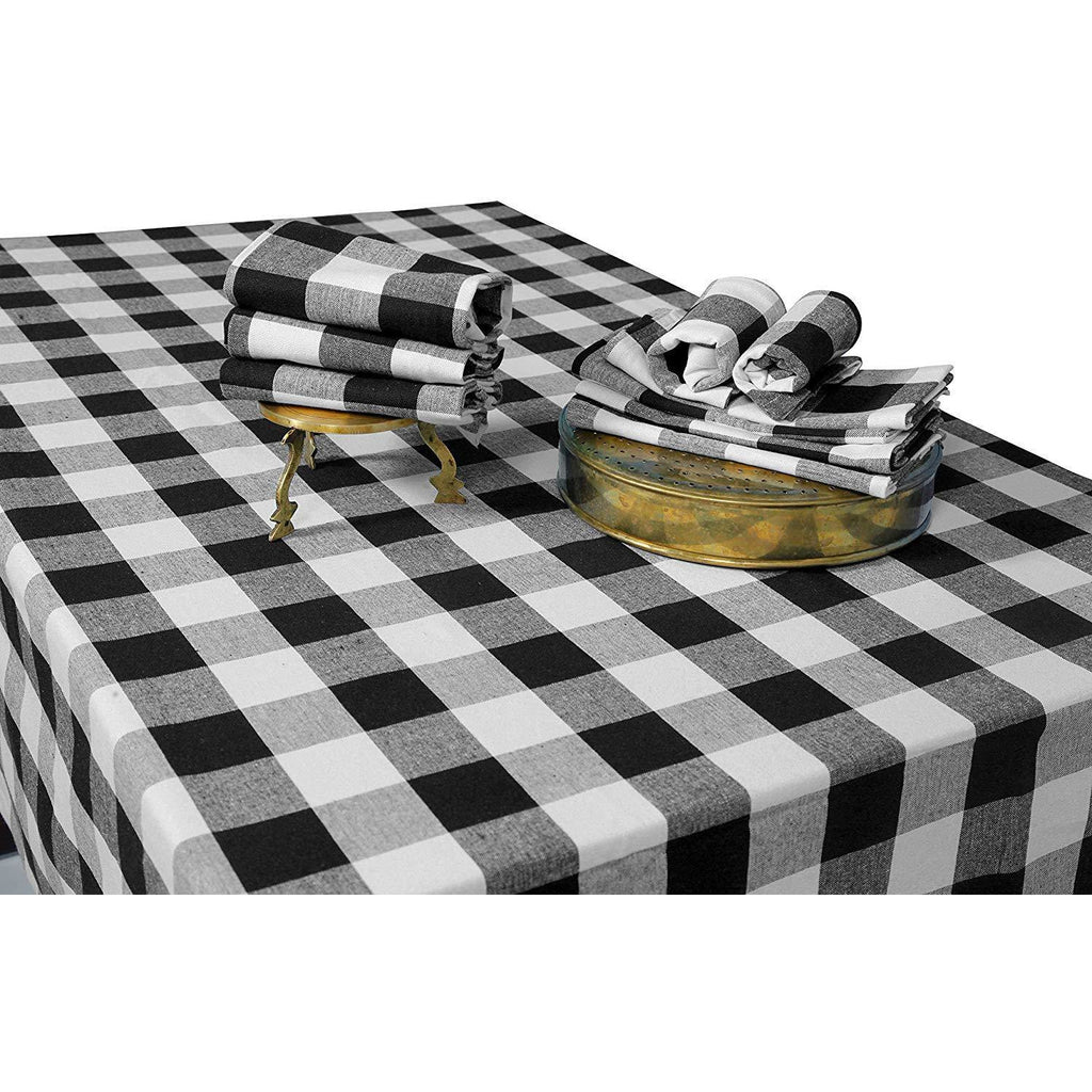 Black and White Rectangular Checkered Tablecloth