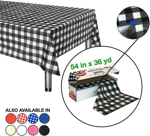 Neatiffy Disposable Plastic Table Cloth Roll | 54 in x 108 Ft Waterproof Tablecloth | Table Cover for Rectangle, Square, Round Oval Tables | Picnic, Party, Banquet, Birthdays - Black Checkered