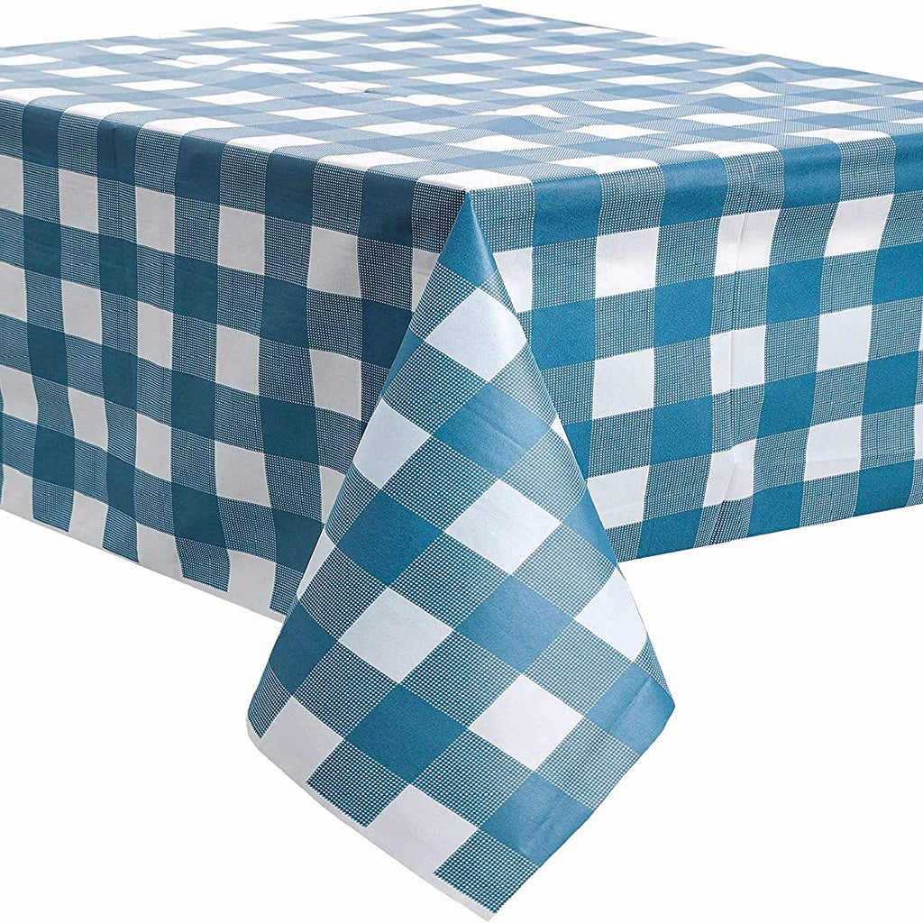 Blue and White Checkered Tablecloth vinyl