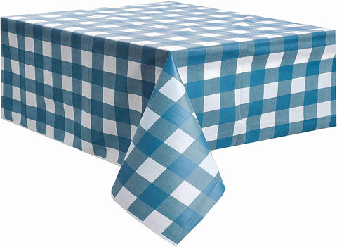 Blue and White Checkered Tablecloth Plastic