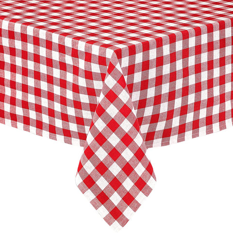Buffalo Gingham Check Indoor Outdoor Cotton Tablecloth, Buffalo Plaid 100% Cotton Lintex