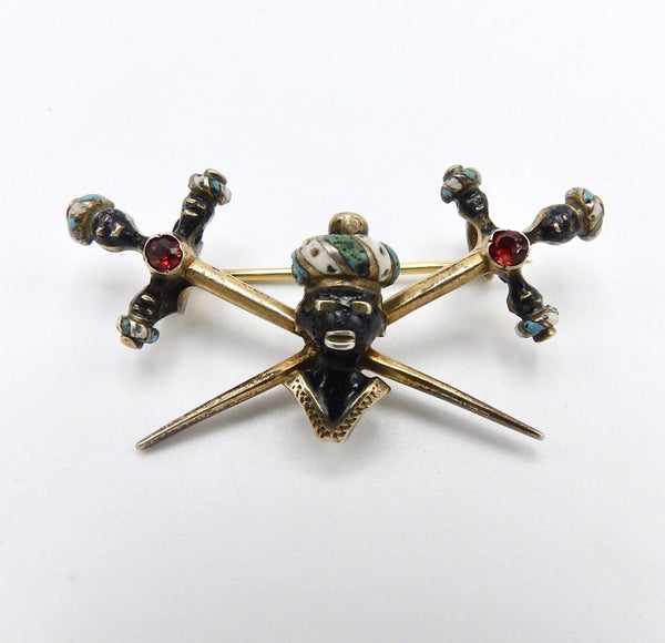 Original Italian Georgian Era Blackamoor Gilded Silver Brooch with Garnets - Kirsten's Corner Jewelry