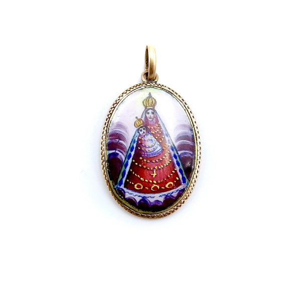 14K Gold Hand Painted Enamel Virgin Mary and Child Medallion