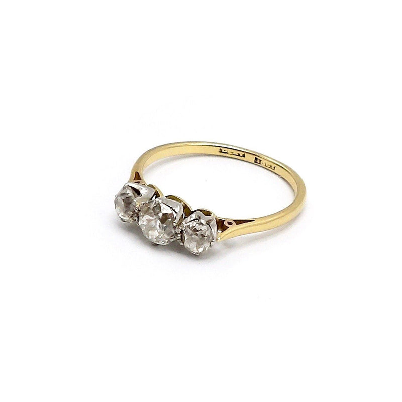 Edwardian 18K Gold and Platinum Three Stone Diamond Ring Ring Kirsten's Corner Jewelry
