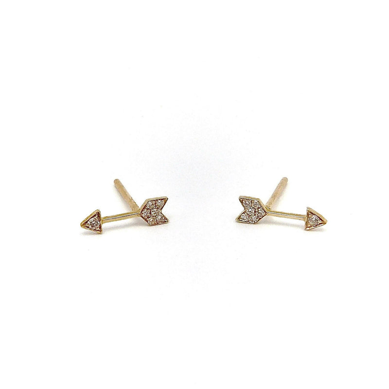 14K Micro Pave Diamond Arrow EF Collection Stud Earrings Earrings Kirsten's Corner Jewelry