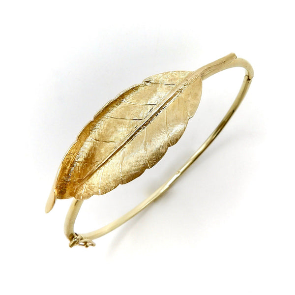 14K Gold Retro Leaf Bangle Bracelet Bracelet Kirsten's Corner