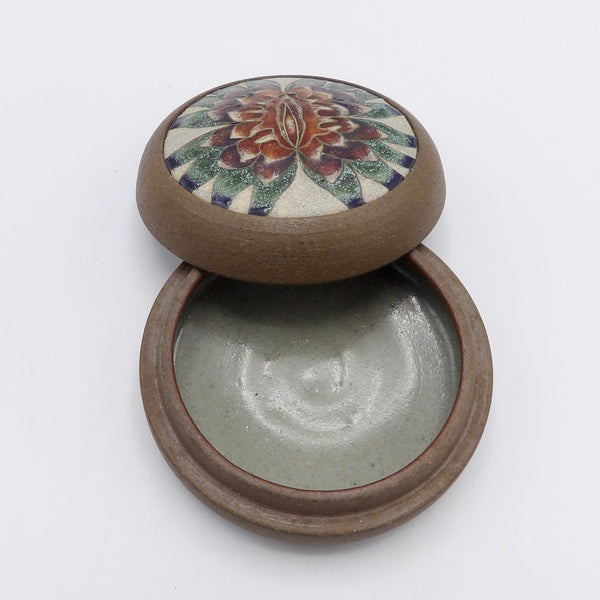 Judy Chicago Sappho Flower Ceramic Vessel from 1979 Jewelry Box Kirsten's Corner Jewelry