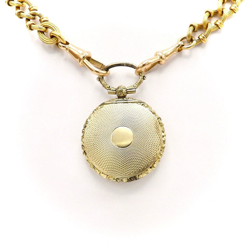 10K Gold Engine-Turned Mourning Locket with Braided Hair Pendant Kirsten's Corner
