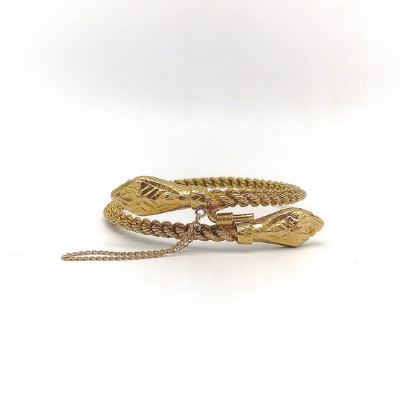 18K Gold Double Headed Vintage Snake Bracelet
