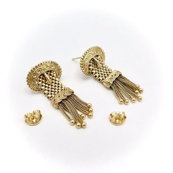 14K Victorian Buckle Earrings with Tassels Earrings Kirsten's Corner