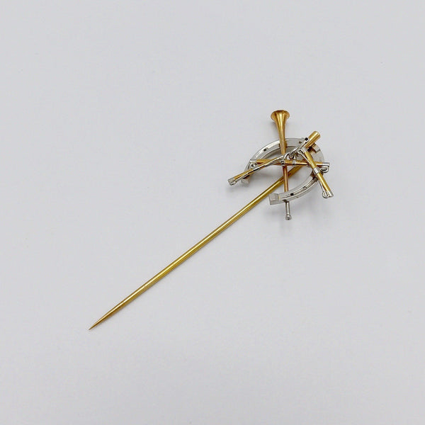 Victorian Hunting Theme Platinum and 14KT Gold Stick Pin - Kirsten's Corner Jewelry