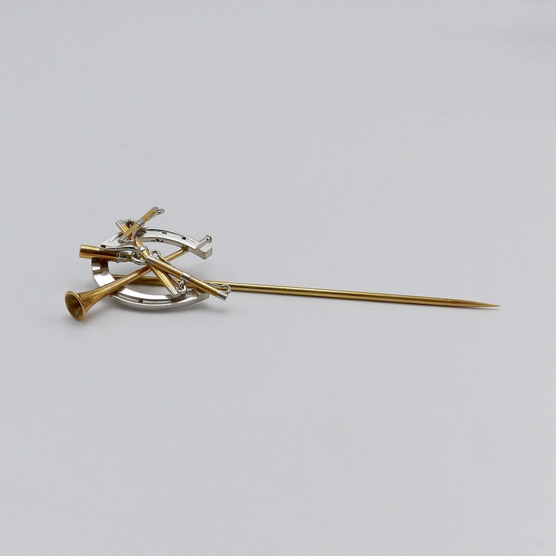 Victorian Hunting Theme Platinum and 14KT Gold Stick Pin Brooches, Pins Kirsten's Corner Jewelry