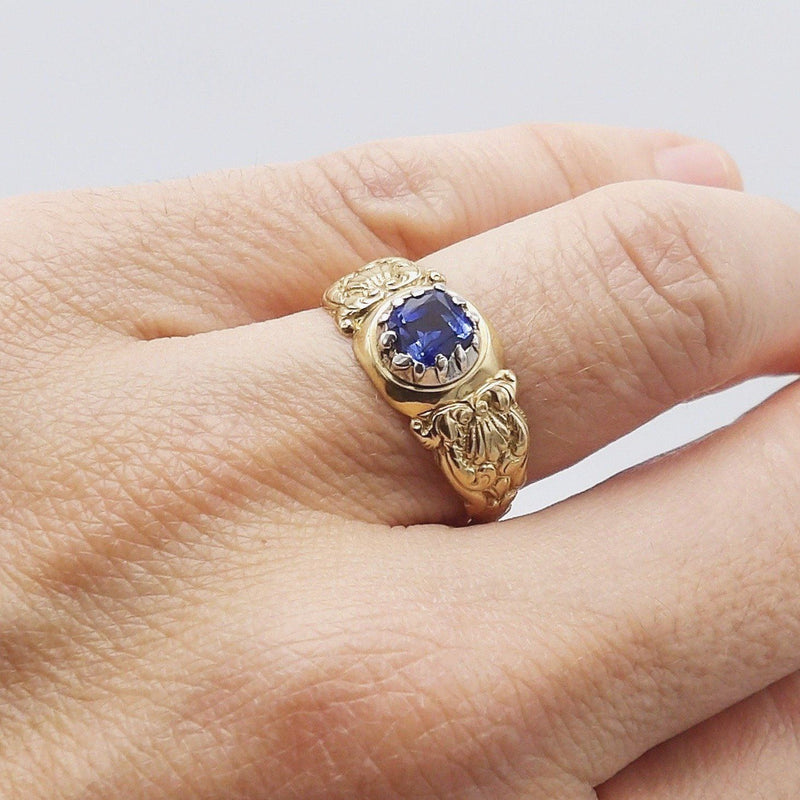 Early Victorian Natural Sapphire Sterling Silver & 14K Gold Ring - Kirsten's Corner Jewelry