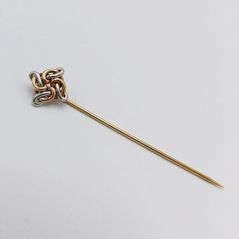 Victorian 14K Rose Gold & White Gold Spiral Lover's Knot Stick Pin - Kirsten's Corner Jewelry