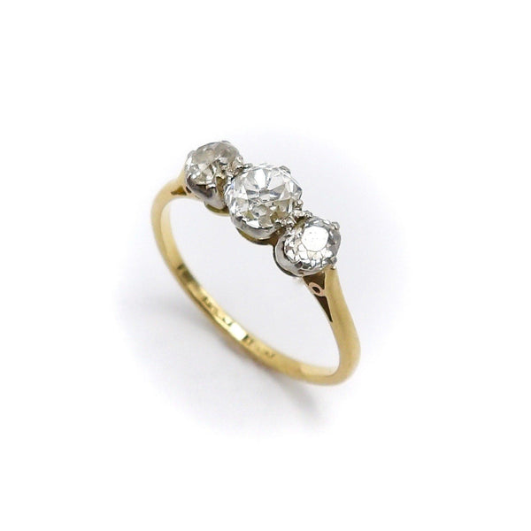 Edwardian Era 18K Gold and Platinum Three Diamond Ring - Kirsten's Corner Jewelry