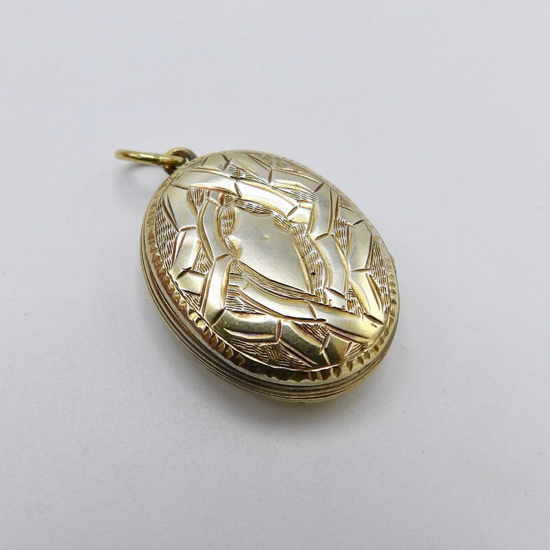 Victorian Sterling Silver Gilded Bight-cut Locket Pendant Kirsten's Corner Jewelry