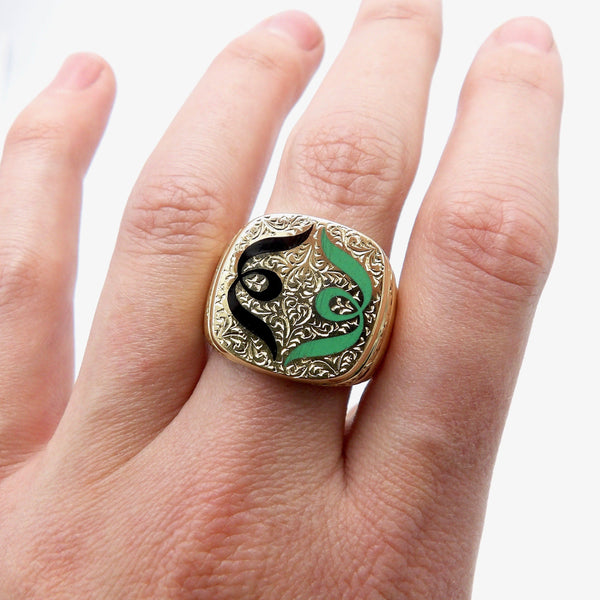18K Gold Hand-Engraved Enamel Signet Ring with Symmetrical Design Ring Kirsten's Corner Jewelry