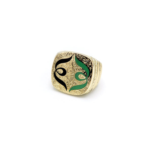 18K Gold Hand-Engraved Enamel Signet Ring with Symmetrical Design