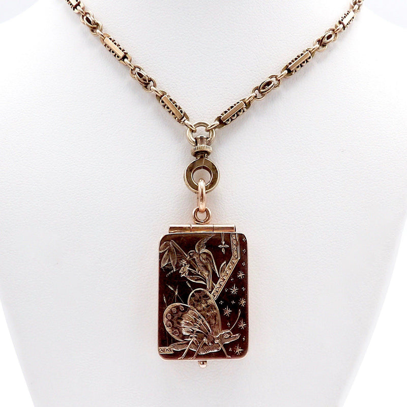 14K Rose Gold Aesthetic Movement Butterfly & Bird Locket Pendant Kirsten's Corner Jewelry