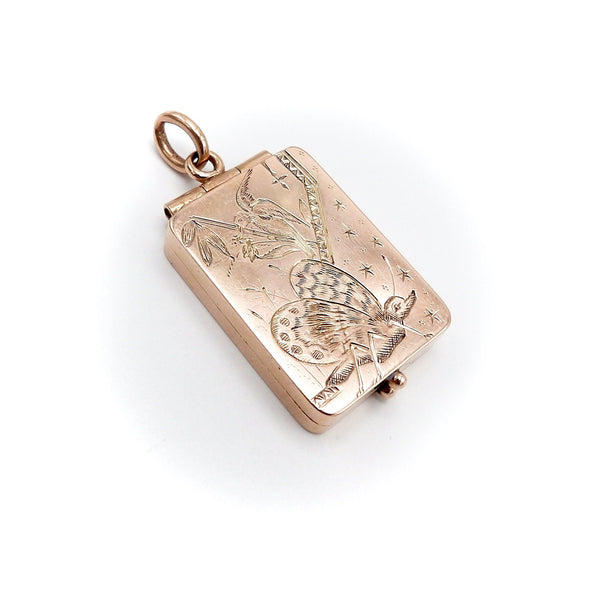 14K Rose Gold Aesthetic Movement Butterfly & Bird Locket - Kirsten's Corner Jewelry