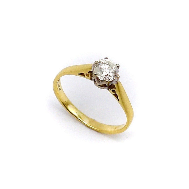 18K Gold & Platinum Vintage Solitaire Diamond Ring Ring Kirsten's Corner Jewelry