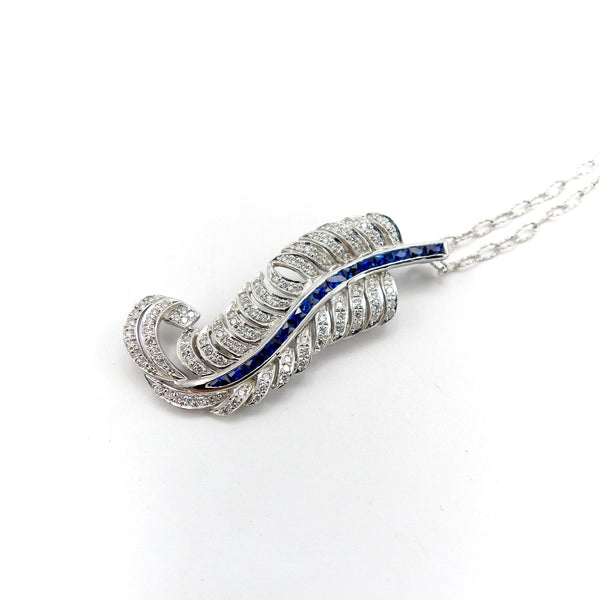 18K White Gold Art Deco Feather Plume Pendant Brooch with Diamonds and Sapphires on Chain