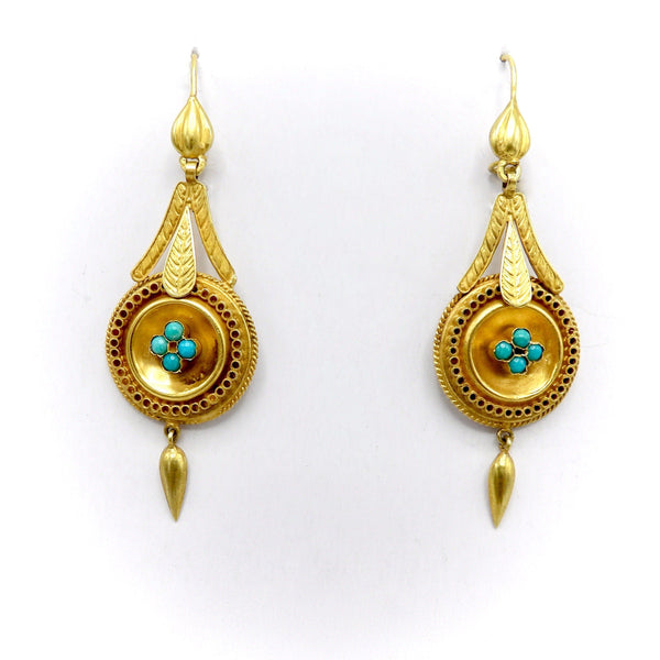 14K Gold Etruscan Revival Earrings with Turquoise Cabochons - Kirsten's Corner Jewelry