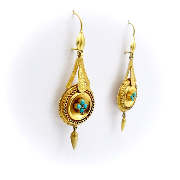 14K Gold Etruscan Revival Earrings with Turquoise Cabochons Earrings Kirsten's Corner Jewelry
