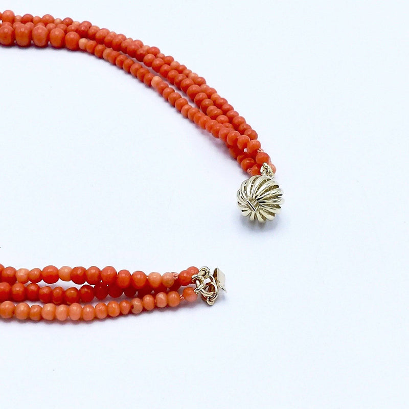 Triple Strand Twisted Salmon Coral Necklace Necklaces, Pendants Kirsten's Corner Jewelry