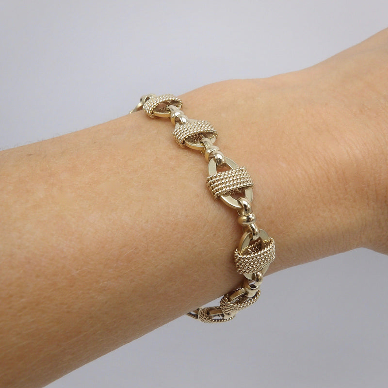 Vintage 14K Gold Twisted Wire and Oval Link Bracelet Bracelet Kirsten's Corner