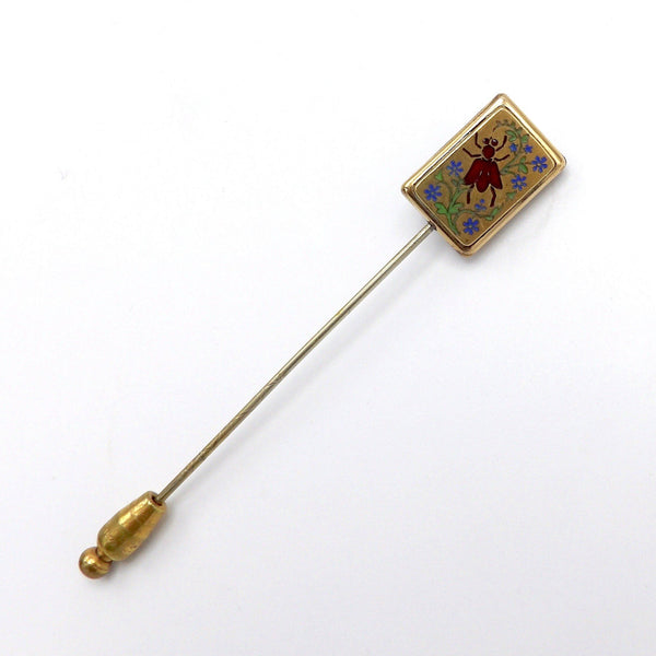 Rare Victorian Enamel Fly and Onyx Horse Stick Pin - Kirsten's Corner Jewelry