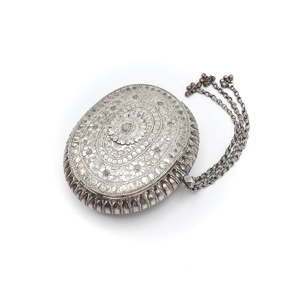 19th Century Indian Silver Repousse Oval Flower Box - Kirsten's Corner Jewelry