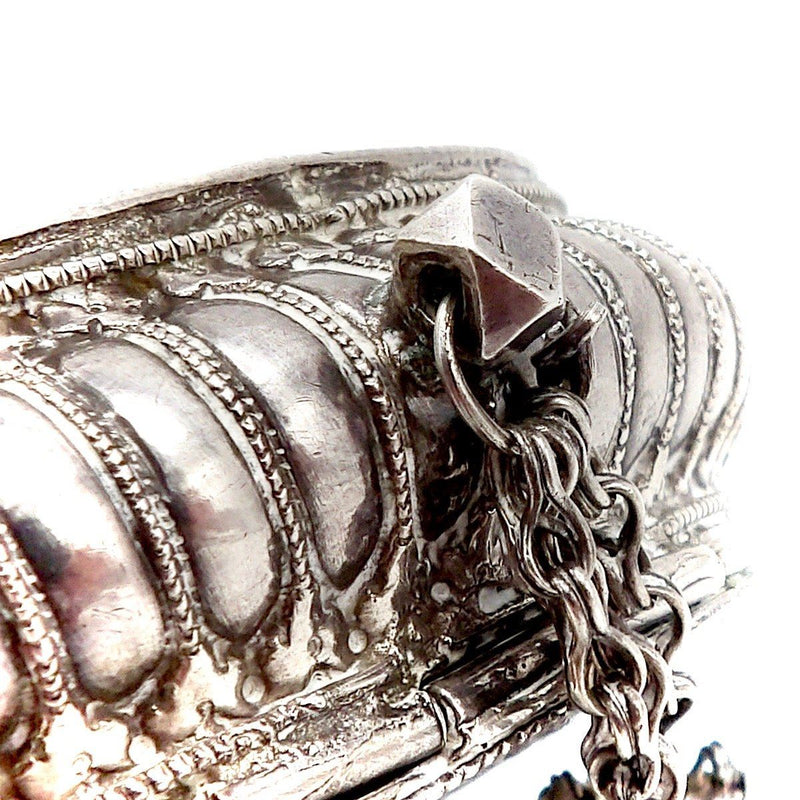 19th Century Indian Silver Repousse Oval Flower Box Box Kirsten's Corner Jewelry