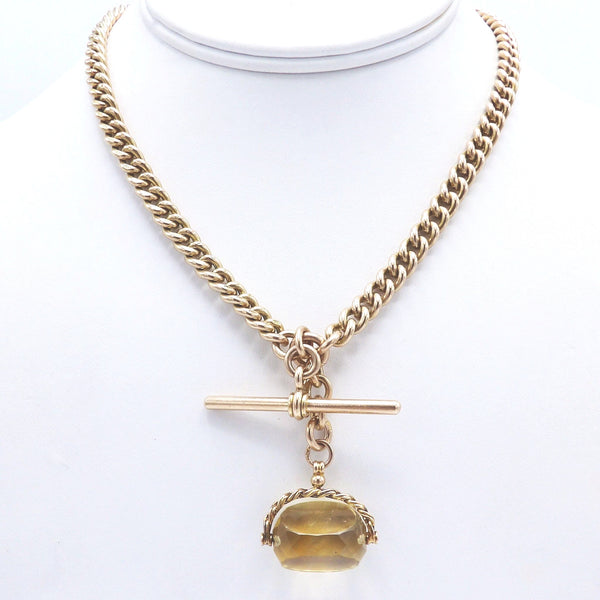 Heavy 9K Gold Curb Link Watch Chain or Necklace with T-Bar and Citrine Swivel Fob - Kirsten's Corner Jewelry