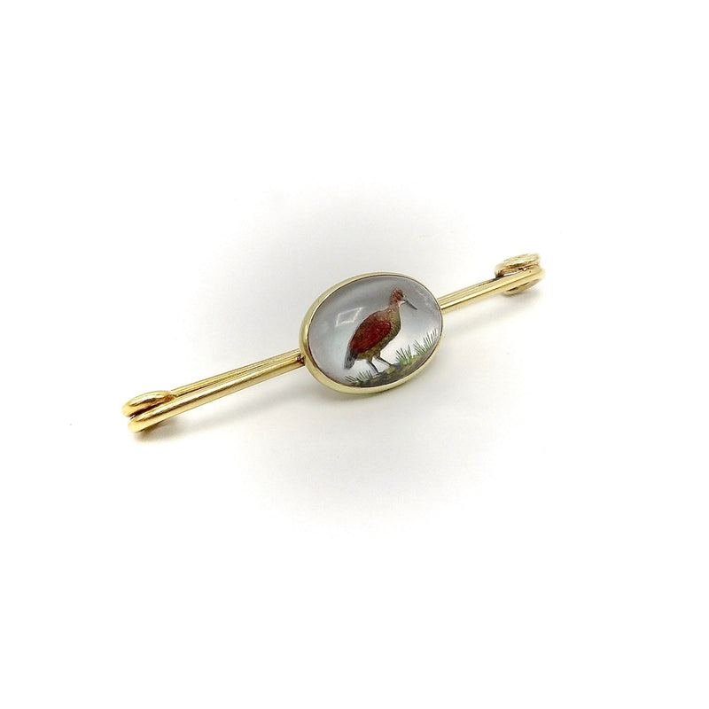 14K Gold Reverse Painted Essex Crystal of Sand Piper Pin Brooches, Pins Kirsten's Corner
