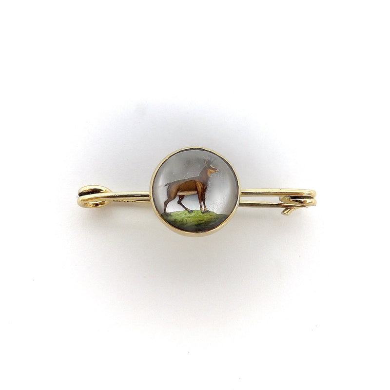14K Gold Reverse Painted Essex Crystal Antelope Pin Brooch Kirsten's Corner