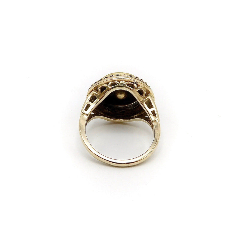 14K Etruscan Revival Mourning Ring w/ Onyx Disc & Pearl Grape Cluster Ring Kirsten's Corner Jewelry