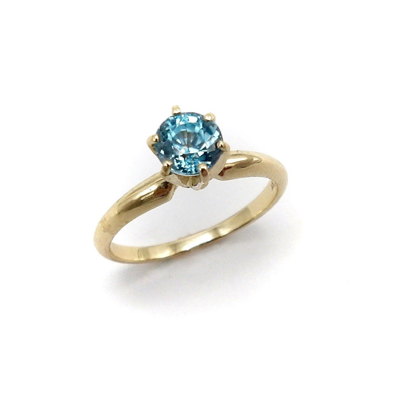 14K Gold Blue Zircon Solitaire Ring Ring Kirsten's Corner Jewelry
