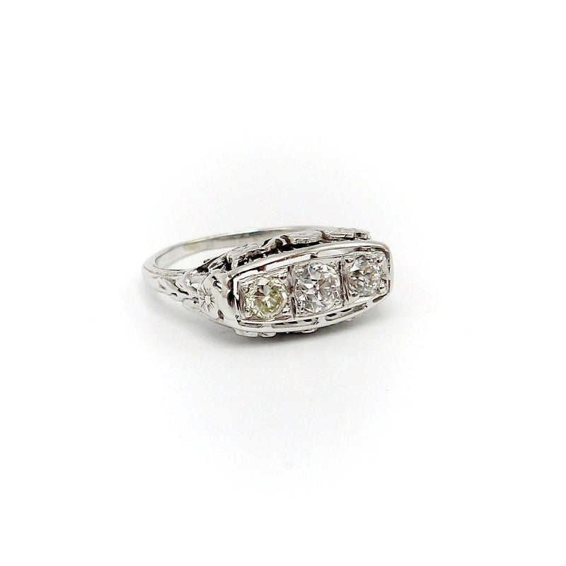 Art Deco 18K White Gold Diamond Ring Ring Kirsten's Corner Jewelry