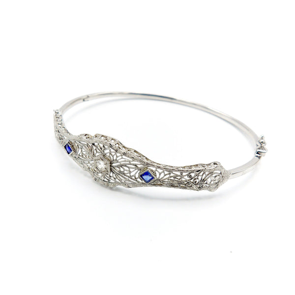 14K White Gold Art Deco Diamond and Sapphire Bracelet Bracelet Kirsten's Corner Jewelry
