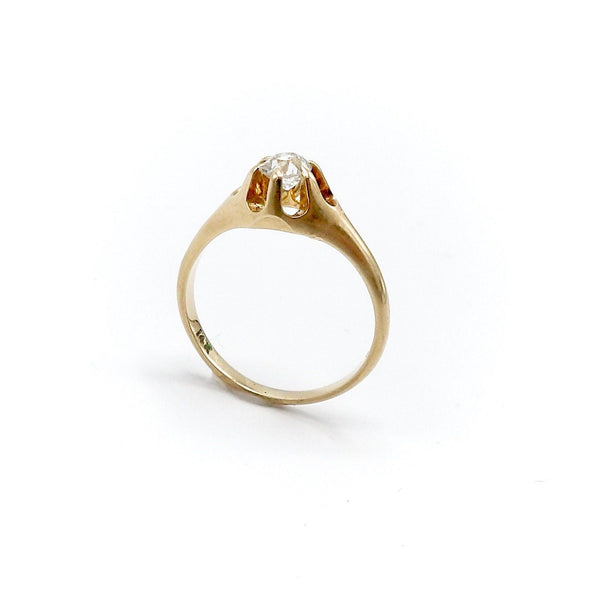 14K Gold Victorian Era Old European Cut Solitaire Ring Ring Kirsten's Corner Jewelry
