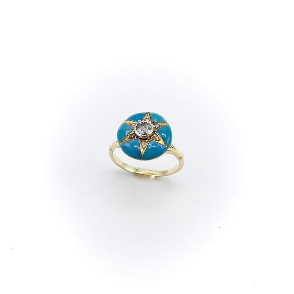 Signature 14K Gold Early Victorian Diamond Star & Blue Enamel Ring Ring Kirsten's Corner Jewelry