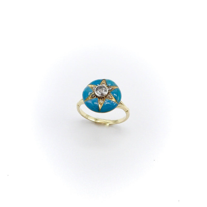 Signature 14K Gold Early Victorian Diamond Star & Blue Enamel Ring - Kirsten's Corner Jewelry