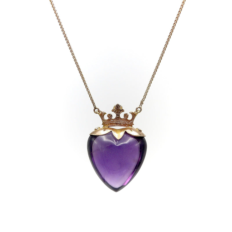 9K Gold Edwardian Amethyst & Pearl Crowned Heart Necklace Necklace Kirsten's Corner