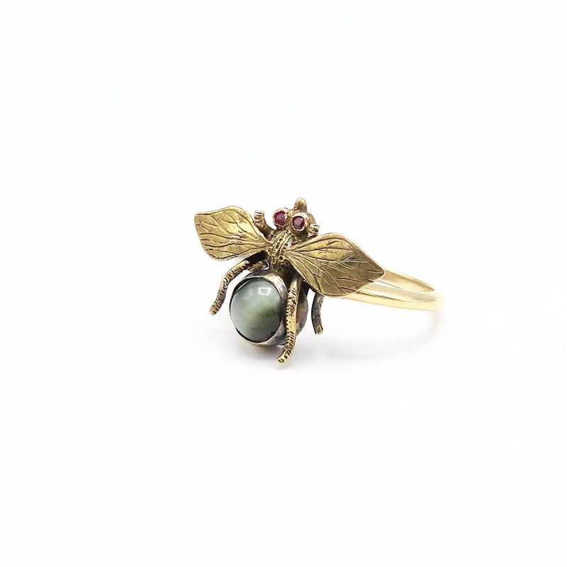 14K Victorian Ruby & Cats Eye Fly Ring Ring Kirsten's Corner Jewelry