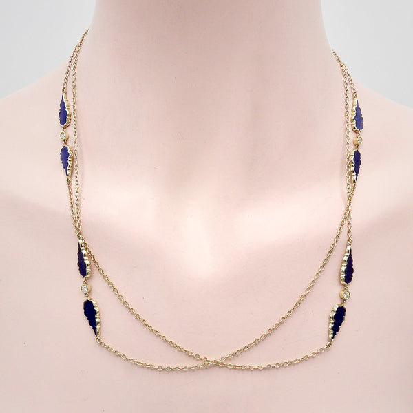 Signature 14K Gold Gothic Teardrop Diamond and Enamel Station Chain Chain Kirsten's Corner