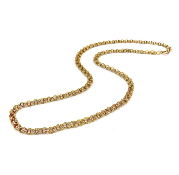 14K Russian Edwardian Flattened Link Chain Necklace Chain Kirsten's Corner Jewelry