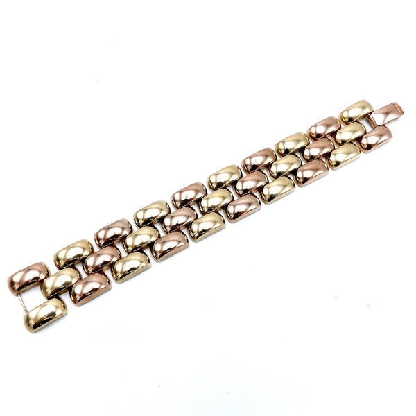 Retro 14K Rose and Yellow Gold Alternating Link Bracelet Bracelet Kirsten's Corner